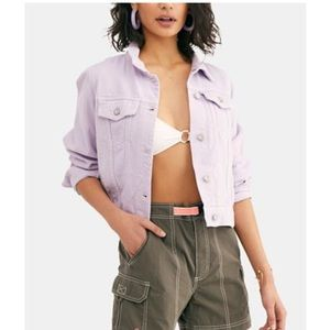 Free People Rumor Denim Jacket Lilac